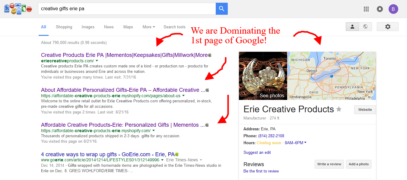 Dominating 1 st pg of Google!