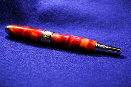 art deco roller ball pen 22k gold and rhodium with desert sunset acrylic