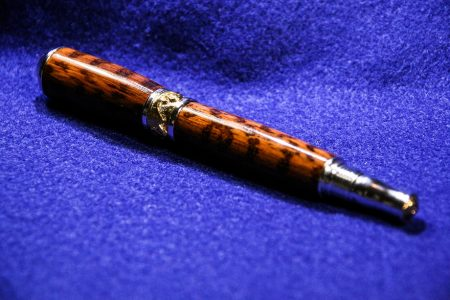 art nouveau fountain pen in 22k gold and rhodium with snakewood