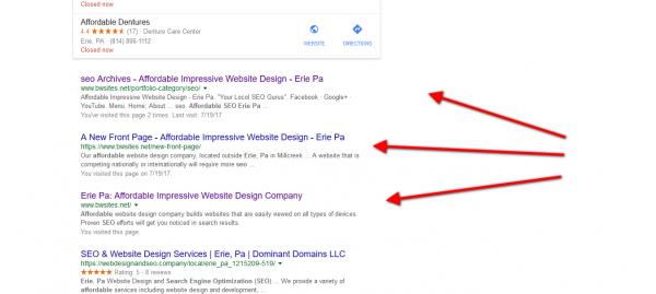 1st 3 spots Google Search 1